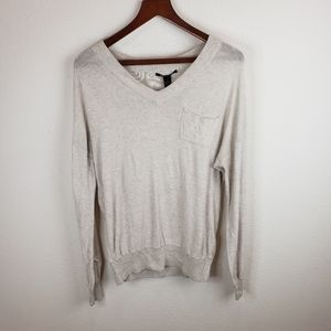 Lucky Brand Women's Ivory Thin Long Sleeve Sweater